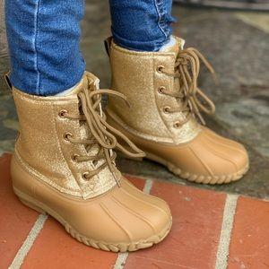 NEW** GIRLS GOLD GLITTER DUCK BOOTS
